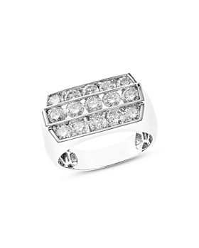 Bloomingdale's - Men's Diamond Three Row Ring in 14K White Gold, 3.25 ct. t.w. - 100% Exclusive