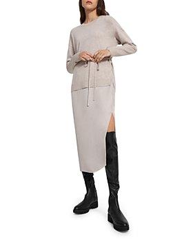 Theory - Knit & Twill Layered Look Midi Dress