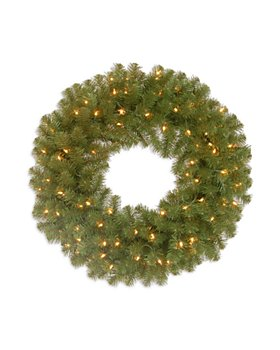 """National Tree Company - 24"""" North Valley Spruce Wreath with Clear Lights"""