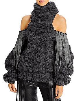 Hellessy - Gia Fringe Trim Cold Shoulder Turtleneck Sweater