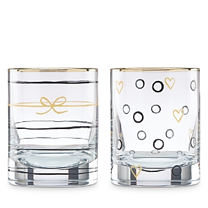 kate spade new york Doodle Away Double Old Fashioned Glasses, Set of 2