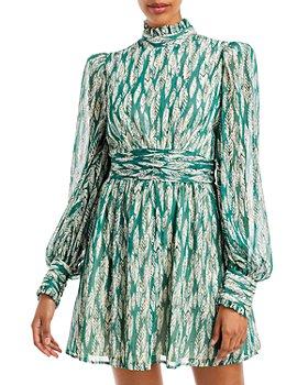 AQUA - Printed Mock Neck Mini Dress - 100% Exclusive