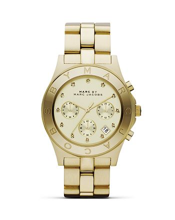 """MARC JACOBS - """"BLADE"""" Three-Eye Chronograph with Stainless Steel Bracelet, 40 mm"""
