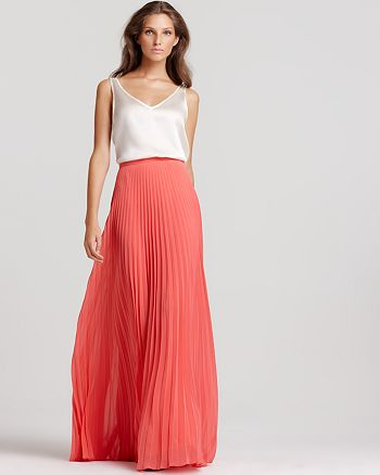 HALSTON HERITAGE - Pleated Maxi Skirt