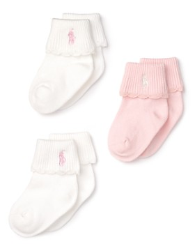 Ralph Lauren - Girls' Layette Scallop-Trim Socks, 3 Pack - Baby