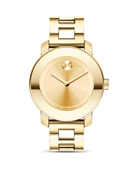 Movado - Movado BOLD Medium Yellow Gold Plated Stainless Steel Watch, 36mm