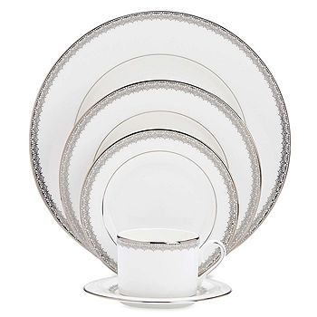 """Lenox - """"Lace Couture"""" Oval Platter, 16"""""""