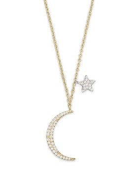 Meira T - Diamond Moon Necklace in 14K Yelliow Gold, .22 ct. t.w., 16""