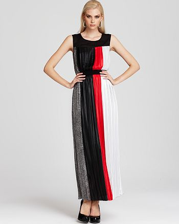 BCBGMAXAZRIA - Pleated Color Block Gown