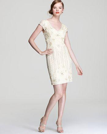 Sue Wong - Beaded Dress - V Neck Cap Sleeve
