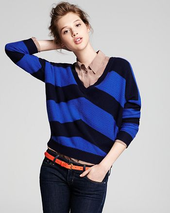 AQUA - Mitered Stripe Drop Shoulder V Neck Sweater - 100% Exclusive