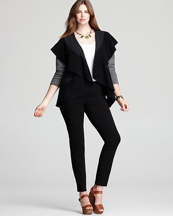 Eileen Fisher Plus - Oval Color Block Flutter Hem Cardigan & Skinny Pants