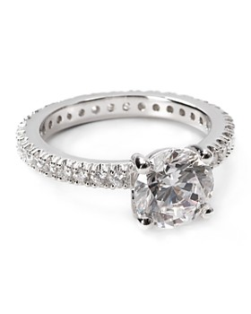 Crislu - Sterling Silver Solitaire Pave Stones Ring