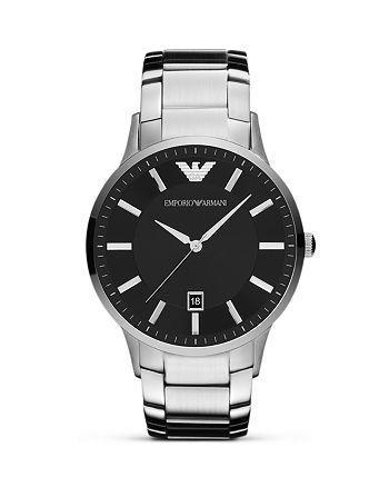 Armani - Silver and Black Stainless Steel Watch, 43mm