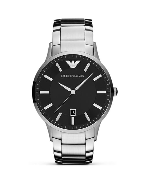 Emporio Armani - Silver and Black Stainless Steel Watch, 43mm