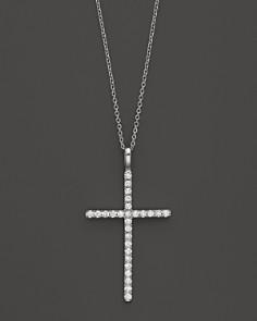 Mens Diamond Pendant Necklace Diamond cross bloomingdales diamond cross necklace in 14k white gold 35 ct tw bloomingdale audiocablefo