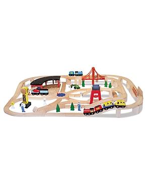 Melissa & Doug Wooden Railway Set - Ages 3+
