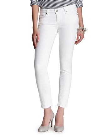PAIGE - Skyline Ankle Peg Jeans in Optic White