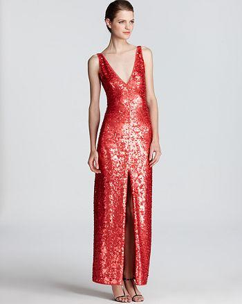 BCBGMAXAZRIA - Sequin Dress - Sleeveless V Neck