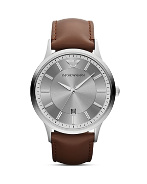 Emporio Armani Brown Leather Watch, 43mm
