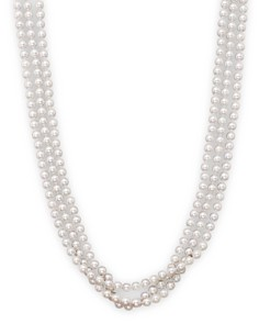 "Bloomingdale's - 14K Yellow Gold 3 Row Cultured Akoya Pearl Necklace, 17"" - 100% Exclusive"