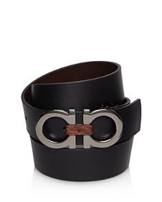 Salvatore Ferragamo - Textured Reversible Belt with Shiny Gunmetal-Tone Double Gancini Buckle