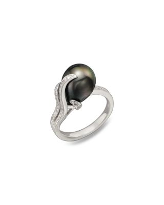 TARA PEARLS 14K White Gold, Diamond And Tahitian Cultured Pearl Ring, 10Mm