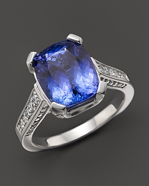 Cushion-Cut Tanzanite and Diamond Ring in 14K White Gold - 100% Exclusive