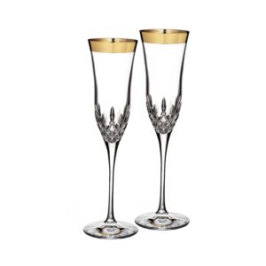 Waterford Lismore Essence Gold Flute, Set of 2