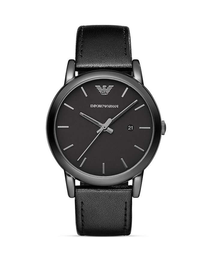 Armani - Three Hand Black Leather Watch, 41 mm