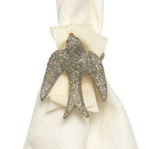 Juliska Sparkle Dove Napkin Rings, Set of 4