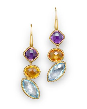 14K Yellow Gold and Multi Gem Drop Earrings - 100% Exclusive