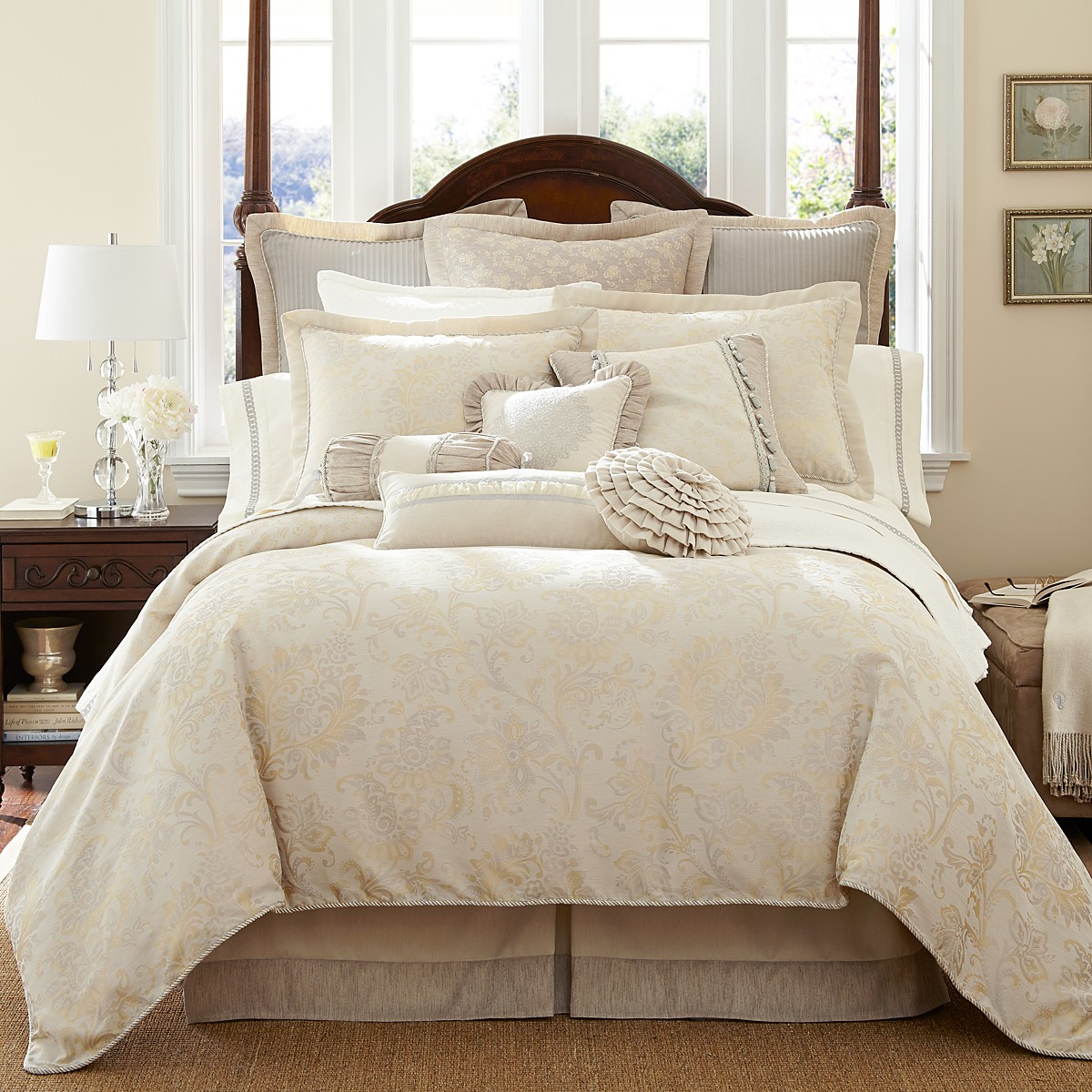 king trinity ivory taupe piece akihomecom home collection u park madison set queen comforter amazoncom