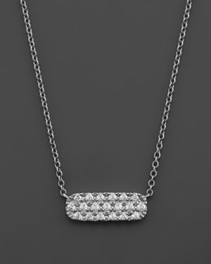 Small Diamond Bar Pendant in 14K White Gold, .12 ct. t.w.