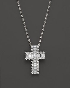Diamond cross bloomingdales round and baguette diamond cross pendant necklace in 14k white gold 55 ct aloadofball Gallery