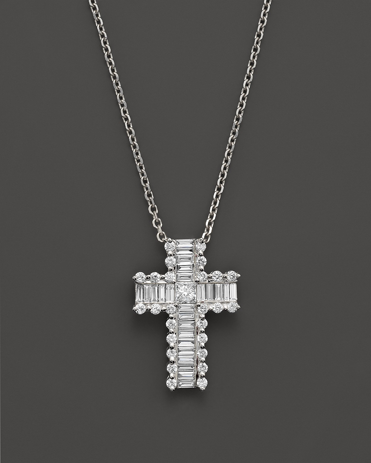 Round and baguette diamond cross pendant necklace in 14k white gold pdpimgshortdescription aloadofball