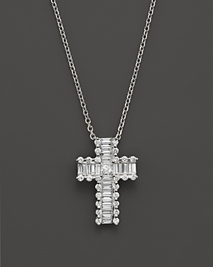 Round and Baguette Diamond Cross Pendant Necklace in 14K White Gold, .55 ct. t.w. - 100% Exclusive