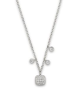 "Meira T - 14K White Gold Square Pavé Diamond Disc Necklace, 16"""