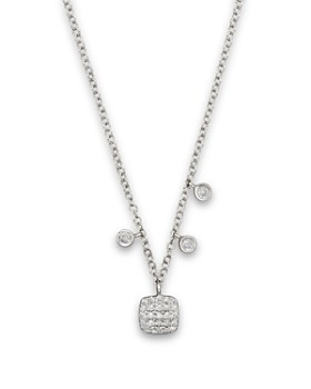Meira T - 14K White Gold Square Pavé Diamond Disc Necklace, 16""