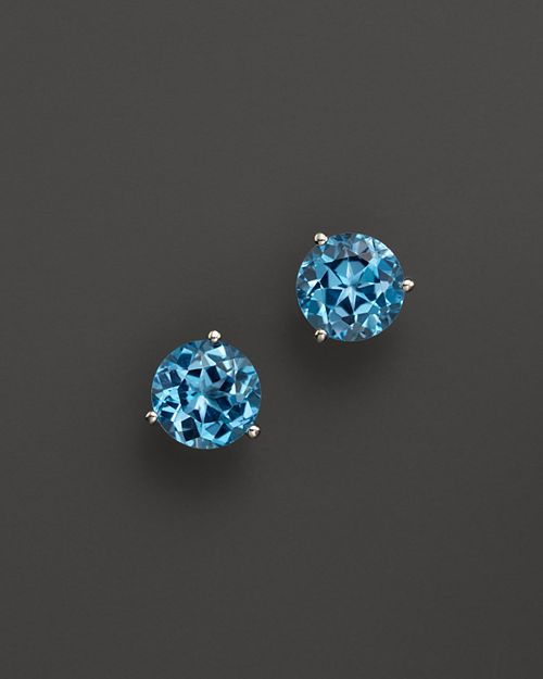 Bloomingdale's - Blue Topaz Round Earrings in 14K White Gold- 100% Exclusive