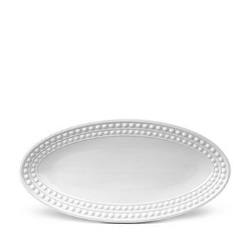 "L'Objet - Perlee White Oval Platter, 14"" x 7"""