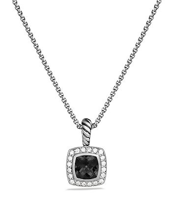 David Yurman - Petite Albion Pendant with Black Onyx and Diamonds on Chain, 17""
