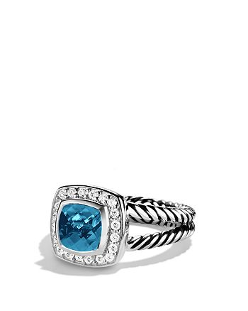 David Yurman - Petite Albion Ring with Hampton Blue Topaz & Diamonds
