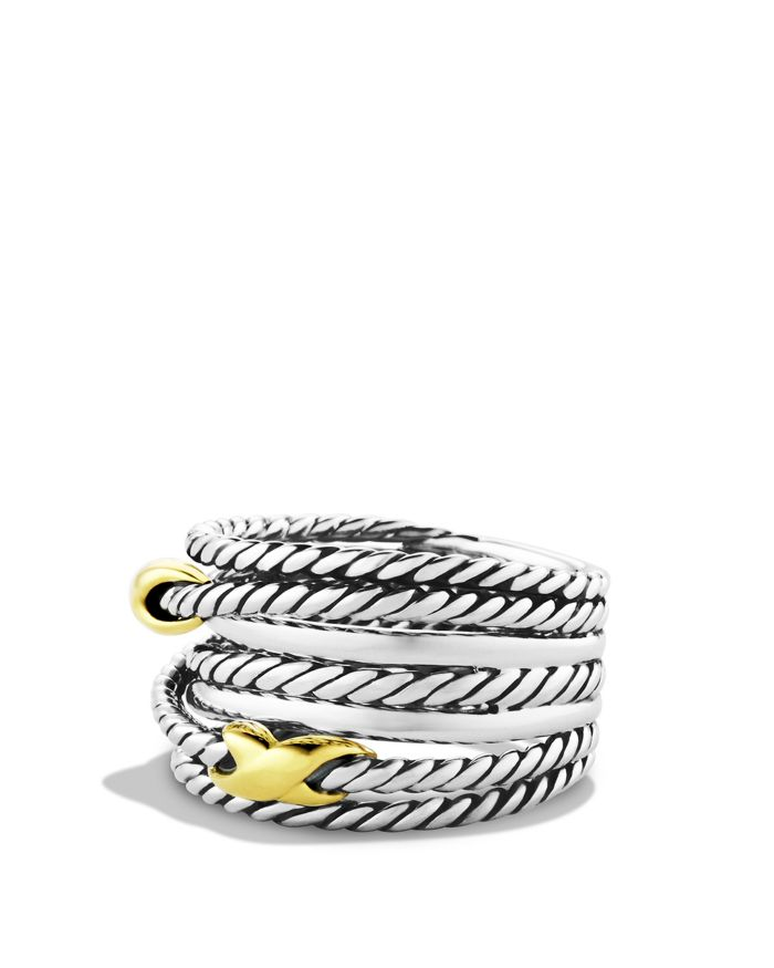 David Yurman Double X Crossover Ring with 18K Gold  | Bloomingdale's