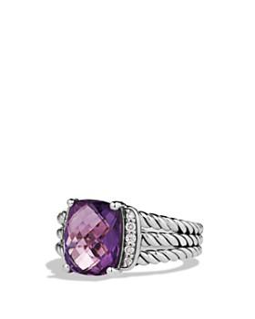 David Yurman - David Yurman Petite Wheaton Ring with Gemstone and Diamonds