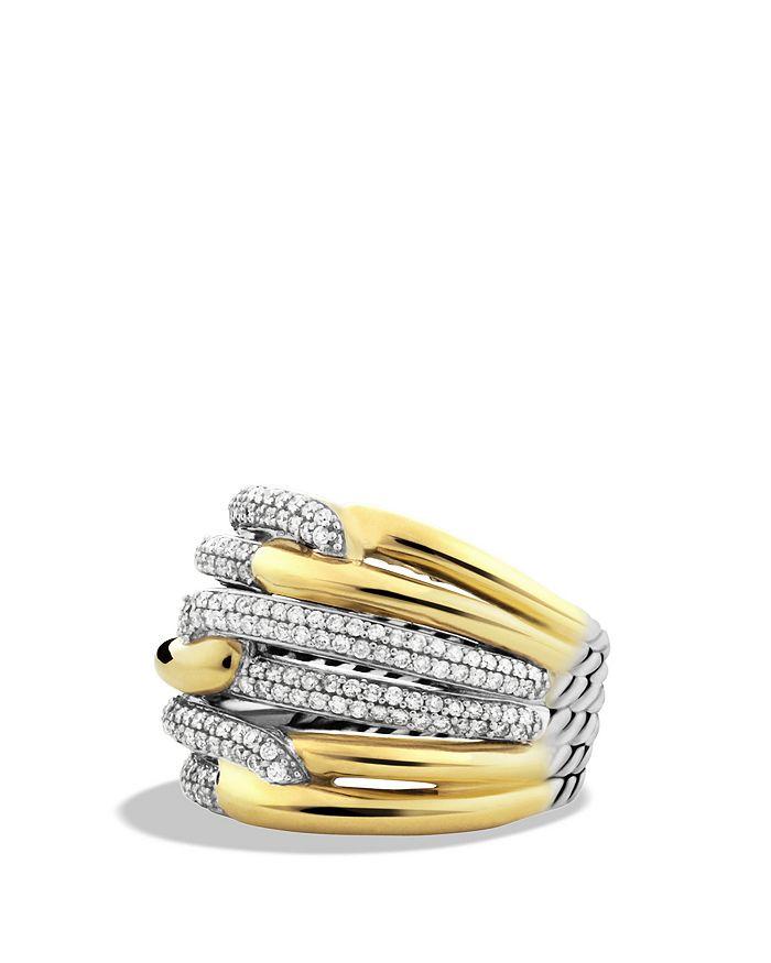 David Yurman Labyrinth Triple-Loop Ring With Diamonds In Silver/Yellow Gold