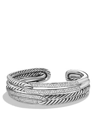 Labyrinth Double-Loop Cuff With Diamonds in Silver