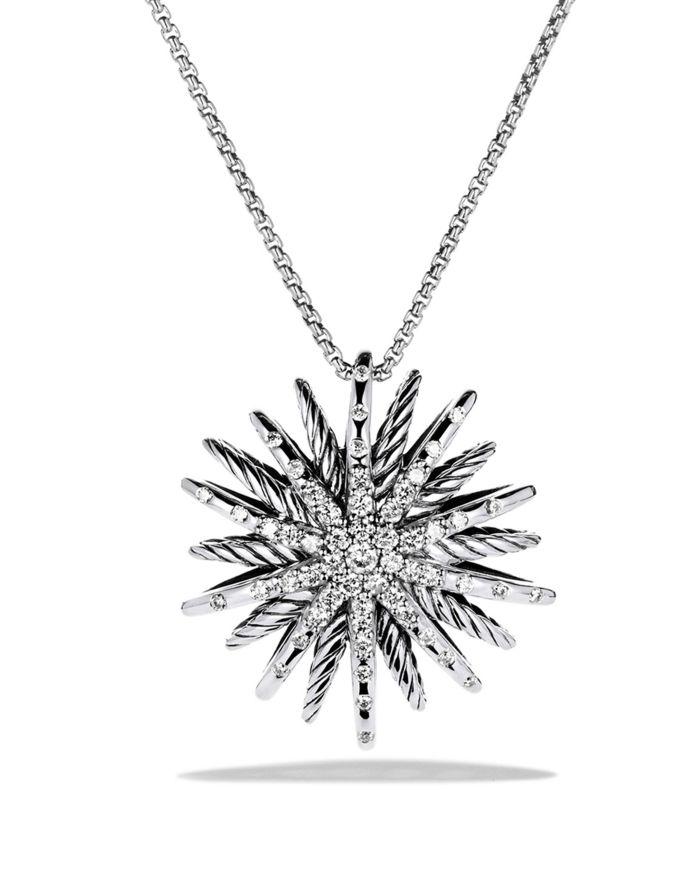 David Yurman Starburst Medium Pendant with Diamonds on Chain  | Bloomingdale's
