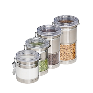 Honey Can Do Stainless Steel & Acrylic Dry Seal Canisters, Set of 4