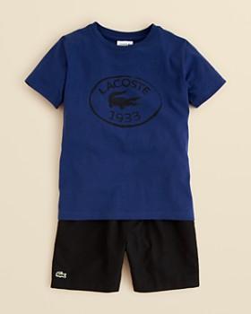 Lacoste - Boys' Croc Graphic Tee & Taffeta Tennis Shorts - Little Kid, Big Kid
